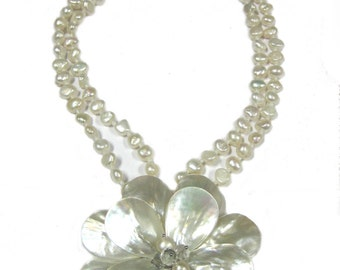 Double Petal Mother of Pearl Flower Necklace