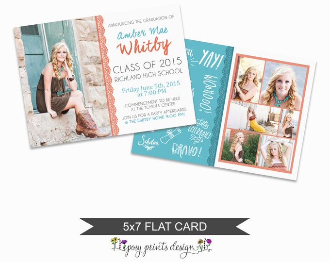 Graduation Announcement Template - 5x7 Digital Photography Photoshop Files - Template for Photographers - GC10 - DOWNLOAD or PRINTABLE