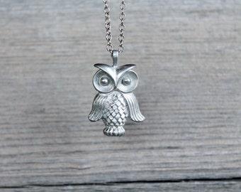 Owl Necklace, Long silver pendant necklace
