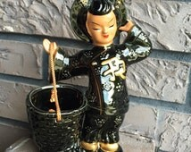 "Kreiss & Company Ceramic? Porcelain? Asian Lady Planter Basket EXCELLENT CONDITION 7.5"" High"