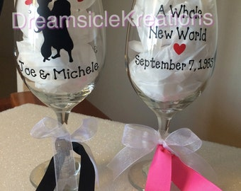 Aladdin Jasmine Personalized wine glass set Wedding Engagement Anniversary gift