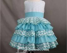 Toddler Ruffle Dress, Chevron Print Dress, Girls Boutique Dress Pageant Dress, Party Dress, Birthday, Spring 2T Ready to Ship