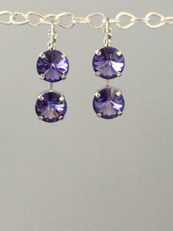 Crystal Drop Earrings, Crystal Leverback Earrings, Swarovski Tanzanite Earrings, Tanzanite Crystal Earrings, Purple Crystal Earrings