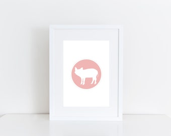 Pink pig -  Printable art , Instant download, shower, nursery baby