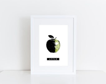 Green apple  -  Printable art , Instant download