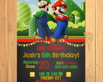 Super Mario Brothers Invitation Chalkboard * Super Mario Brothers Birthday * Mario Printables * Luigi Invite * Super Mario Party Favors