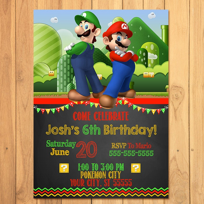 Super Mario Brothers Invitation Chalkboard Super Mario – Mario Party Invites