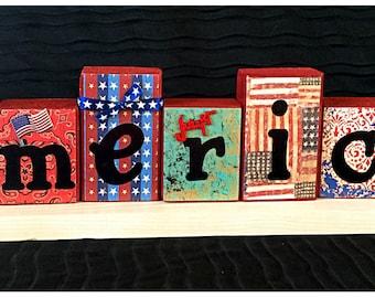 America Wood Blocks!  Great July 4th decoration!