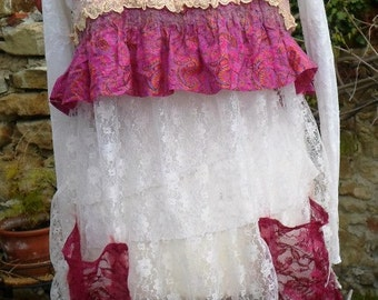 tunic style apron lace and very romantic felted silk