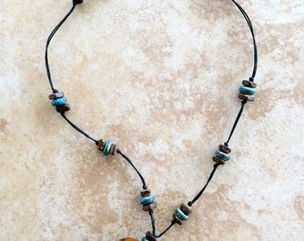 Ceramic Pendant, Ceramic Beads, Boho Necklace, Short Necklace, Bohemian Necklace, Earthy Jewelry, Rustic, Knotted Necklace, Wood Beads