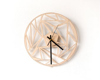 Geometric wall clock / Unique wooden triangle clock