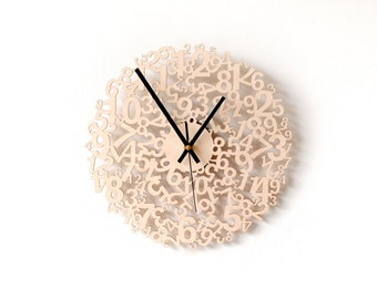 Unique wall clock / Modern wood clock / Wooden wall clock / Large wall clocks / Wood wall art