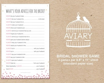 Bubbly & Bliss Bridal Shower Game - Advice for the Bride