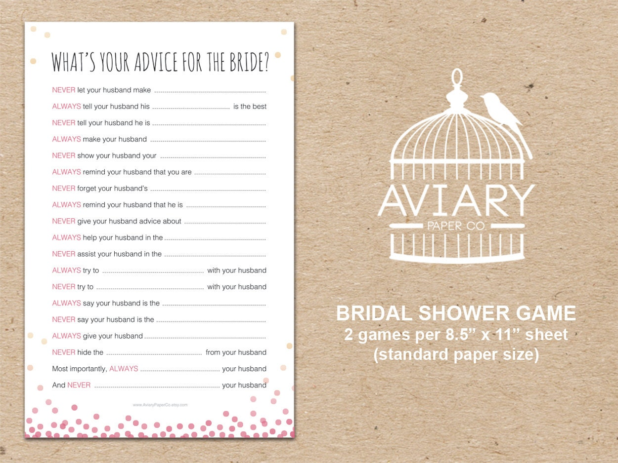 Bubbly & Bliss Bridal Shower Game Advice For The Bride