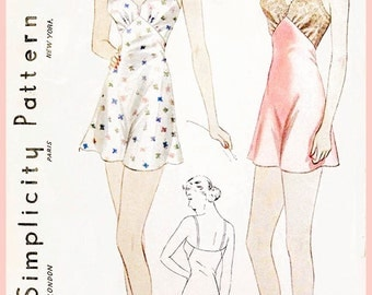 1930s 30s vintage lingerie sewing pattern step in teddy fitted chemise bust 38 b38 repro