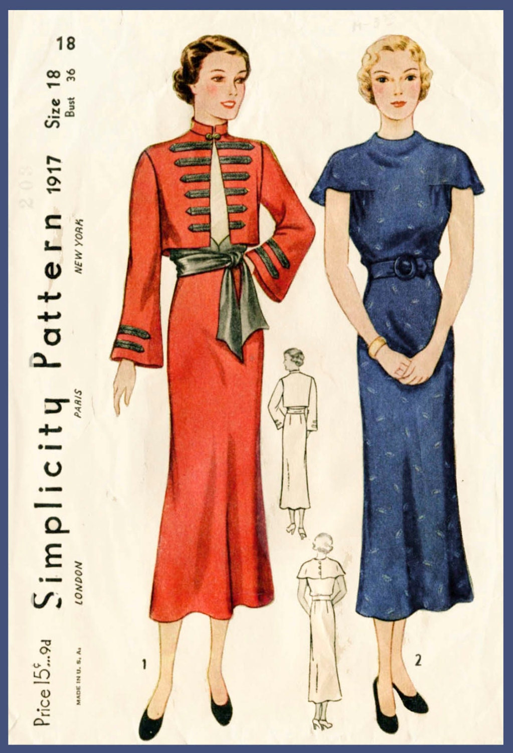 1930s 30s Vintage Sewing Pattern day dress sash skirt military