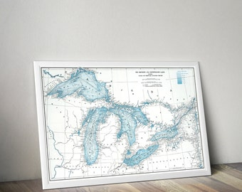 Map Art | Great Lakes Map | Minnnesota, Wisconsin, Illinois, Pennsylvania, Ontario Map | Lake Superior, Lake Michigan, Lake Huron, Lake Erie