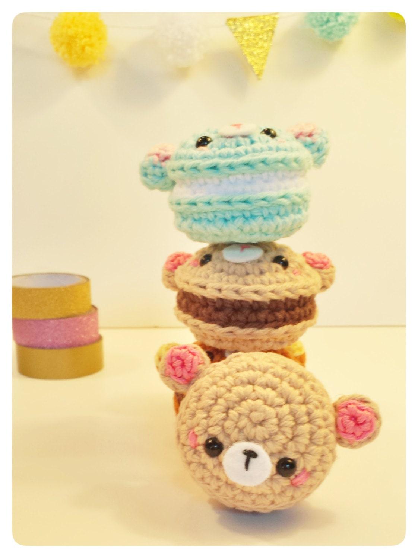 Kawaii Amigurumi Cupcake Keychain : Bear Macaron Amigurumi Kawaii Crochet Keychain by ...