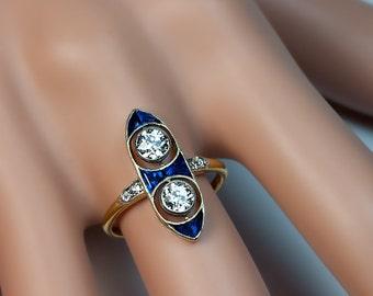 Antique Edwardian Era Two Diamond Engagement Ring