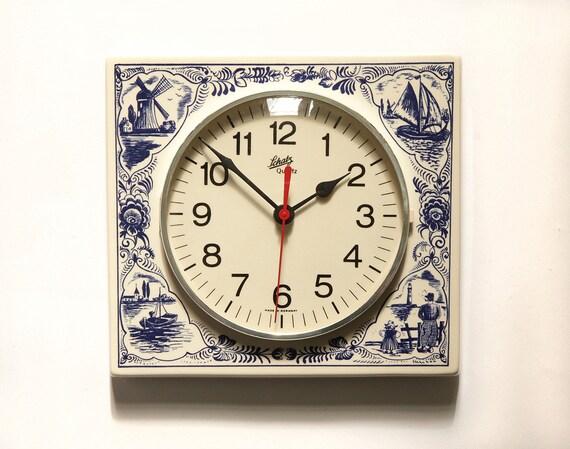 Original Schatz Delft Blue Holland Ceramic Wall Clock 60s