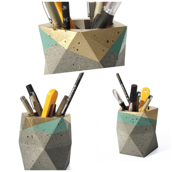... Concrete Pencil Holder // Pencil Cup // Desk Organizer (Gold & Sage