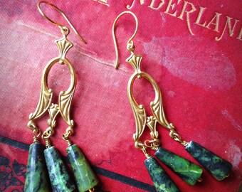 Saraswati - Art Deco Brass & Chrysocolla Chandelier Earrings