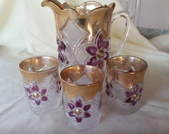 Indiana Glass antique pressed glass Splendor Rayed Water Pitcher with three Glasses
