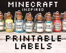 Minecraft Printables Bottle Labels - Minecraft Necklace - Printable Labels - Bottle Necklaces - Minecraft Inspired