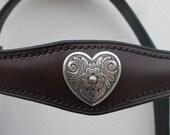 Hand-stitched browband - Florentine heart, custom made.