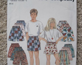 UNCUT Childrens Shorts - Size 7 to 14 - Simplicity Sewing Pattern 9052 - Vintage 1994