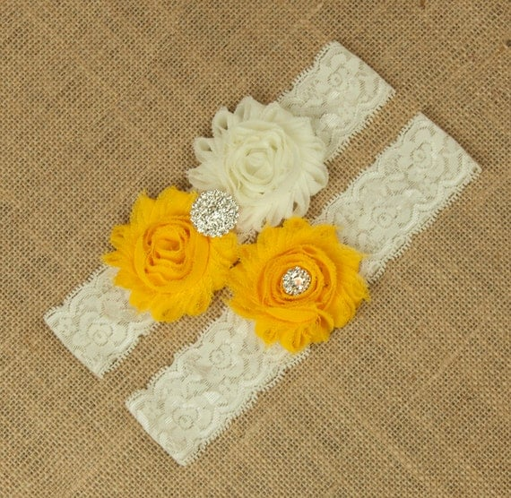 Golden Yellow Garter Set Bridal Garter Belt Wedding Garter