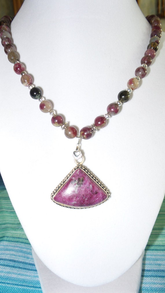 tourmaline necklace with ruby in zoisite pendant by