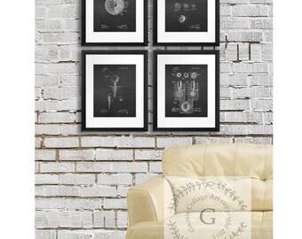 Golf Balls Poster, Golf Art Set Of 4 Prints, Chalkboard Art Prints, Golf