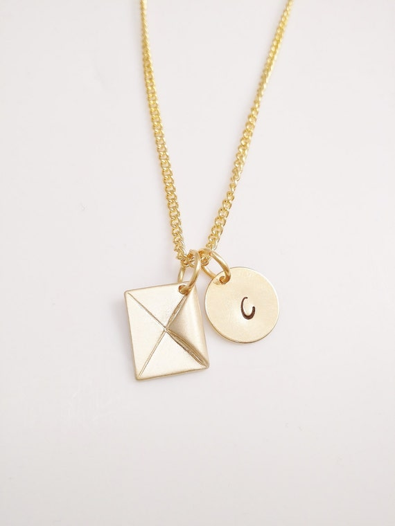 gold initial necklace and envelope charm gold by customchic801