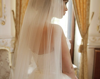 Soft Italian tulle cathedral wedding veil, single / 1 tier wedding veil, simple wedding veil, Alice - Style V08