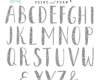 Silver Glitter Alphabet Clipart Scrapbook Letter Glitter