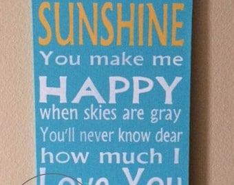 You Are My Sunshine Song Lyrics on Canvas - Sunshine Wall Art - Subway Art with Lyrics