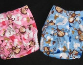 Adjustable Snap Reusable Pocket Cloth Diaper Cover with 2 free inserts Cute Monkey Print