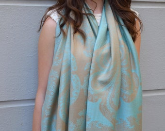 SALE! Blue and beige ottoman scarf