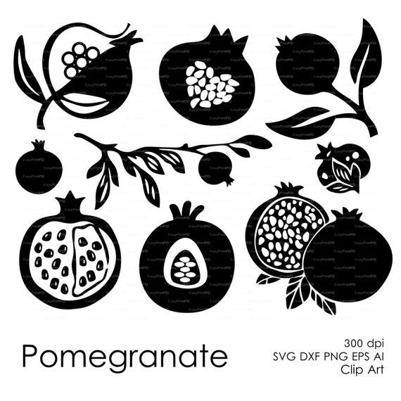 Pomegranate fruit Clip Art Cut print File eps svg dxf ai