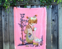 Vintage Precious Moments Fleece Blanket, Girl with a Goose, Very Plush and Soft