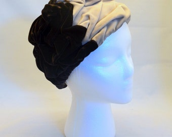 Vintage Ruched Velvet Hat, Tricolor Chocolate Brown, Taupe and Sand, United Hatters Cap and Millinery Workers Union