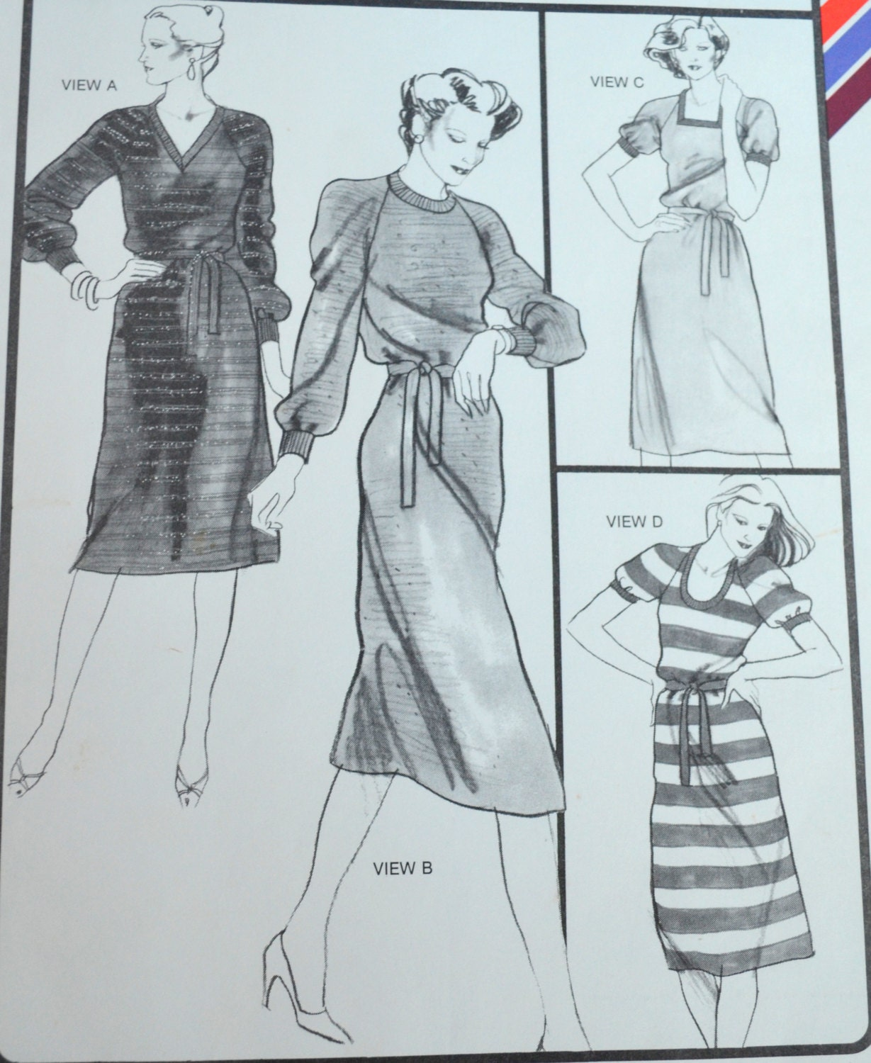 Stretch Knit Sewing Patterns : Vintage Knit Dress Pattern Stretch & Sew 1536 by UpswingVintage