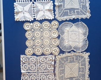 6 vintage square crocheted pieces