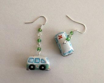 Orecchini Camper Pulmino Hippie Figli dei fiori  hippy idea regalo hippy earrings westfalia flower child gifts regali personalizzati per lei