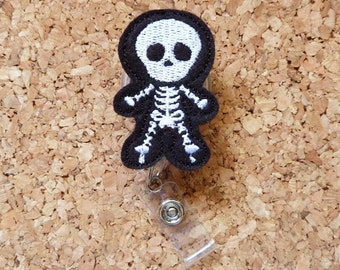 Xray Badge Reel - SKELETON ID Radiology Badge Reel - Felt Badge Reel - Cute Badge Reel - Xray Technician - 389