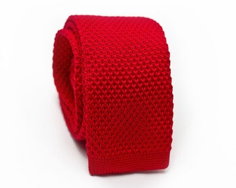 Red Knitted Skinny Tie