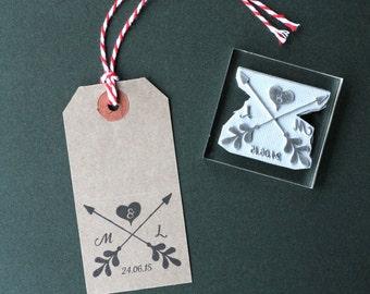 Wedding Rubber stamp. Personalised arrows. Custom. Favors