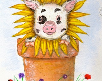 Tiny, The Teacup Pig In A Flower Pot Print Of Watercolor Illustration  Springtime Pet Pig Part 45