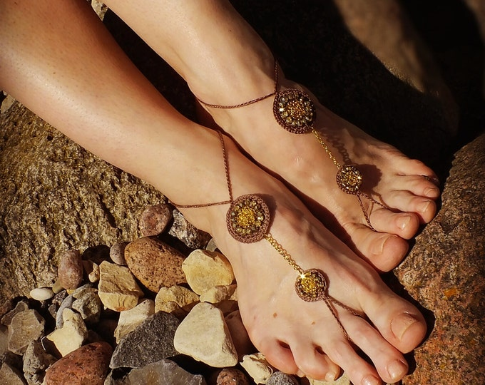 Beaded barefoot sandals/Bellydance jewelry/Beach wedding/Nude shoes/ sexy sandals/gold anklet